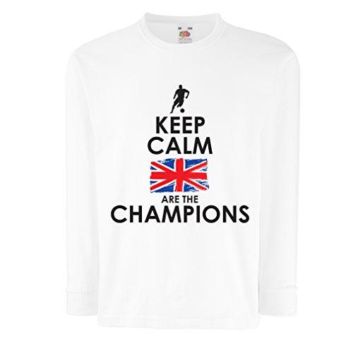 N4507D Kinder-T-Shirt mit Langen Ärmeln North Irish Are The Champions ! (12-13 Years Weiß Mehrfarben)