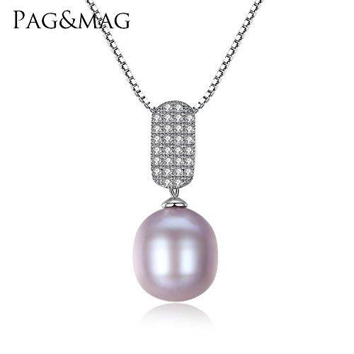 Haixin S925 pur argent Collier de perles d'eau douce naturelle pendentif antiallergique pure s925 argent pendentif chaîne longueur 42 cm + 3 cm