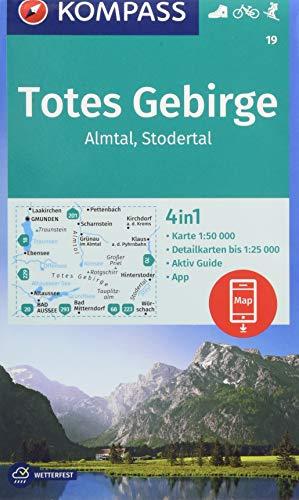 KOMPASS Wanderkarte Totes Gebirge, Almtal, Stodertal: 4in1 Wanderkarte 1:50000 mit Aktiv Guide und Detailkarten inklusive Karte zur offline Verwendung ... Skitouren. (KOMPASS-Wanderkarten, Band 19)