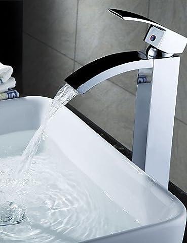 Hjkdgh robinet de salle de bain Finition chrome Cascade en laiton massif Lavabo Robinet (Hauteur)