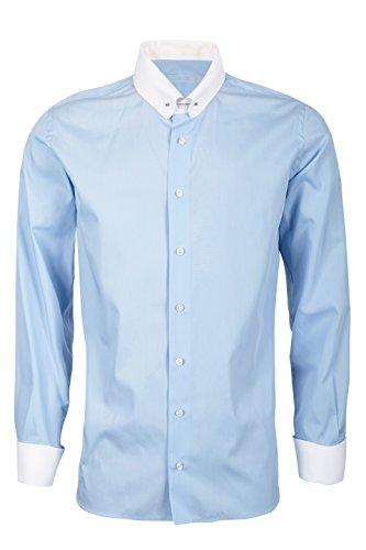 Schaeffer Hemd Slim Fit himmelblau Piccadilly / Pin Collar weiß, Größe: M Collar Pin Shirt
