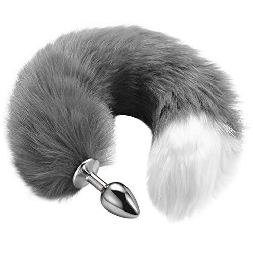 Utimi Unique Anal Stopper Edelstahl Butt Plug glatte Anus Spielzeug mit Faux Fox Tail, konische Spitze
