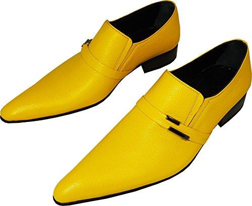 Original Chelsy-ausgefallene italienne en cuir véritable/Cuir de veau Designer Chaussons avec motif citron et côté boucle dans Jaune (zeste de citron, citron Peau, Party, les loisirs chaussures) Jaune - Jaune