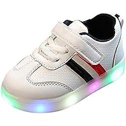 Zapatillas Unisex Niños K-Youth Zapatos LED Niños Niñas Zapatillas Niño Zapatillas de Rayas para Bebés Zapatillas de Deporte Antideslizante Zapatillas con Luces para Niñas Niños (22 EU, Negro)
