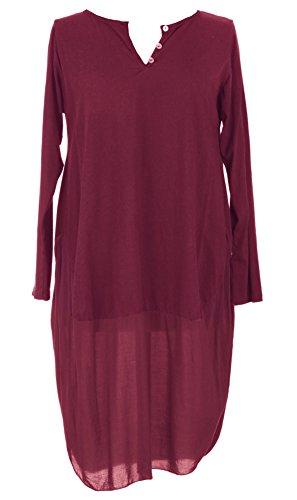 Mesdames Womens italien Lagenlook Long Manche 3 bouton U forme bas Parachute Cocoon coton Tunique robe taille unique 8-12 UK Bordeaux