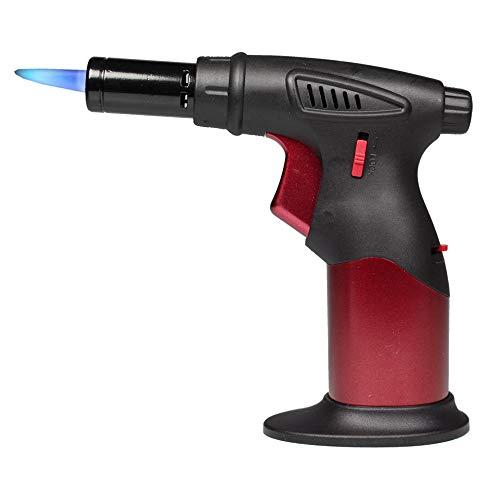 Sturmfeuerzeug Spark Jet Flame Turbo Stand-Feuerzeug - Ergonomischer Design mit arretierbarer Jetflamme - Easy to Handle Torch Flamme (ROT)