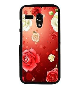 Fuson Premium 2D Back Case Cover Red Roses With black Background Degined For Motorola Moto G X1032::Motorola Moto G (1st Gen)