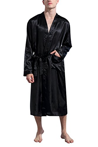 Dolamen Herren Morgenmantel Bademäntel Kimono, Weich u. Leicht glatte Luxus Satin Nachtwäsche Bademantel Robe Negligee locker Schlafanzug mit Belt & Pockets (Medium, Schwarz)
