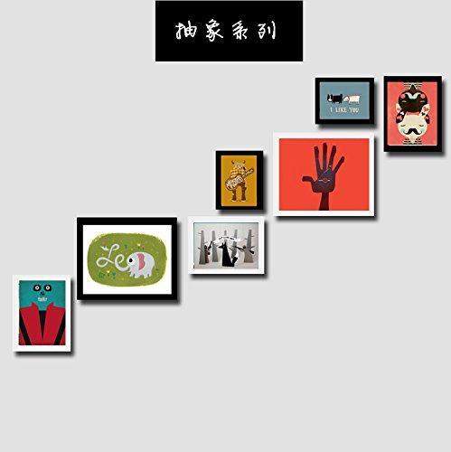 Bilderrahmen* Massivholz 7 Bilderrahmen Bilderrahmen an der Wand Wand Schlafzimmer restaurant Flur Treppe mit Box Kunst Gemälde, schwarz und weiß Classic+ Abstract Series -