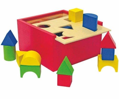 Woodyland Caja de clasificación, 16 x 16 cm, forma de juguete didáctico (20 piezas)