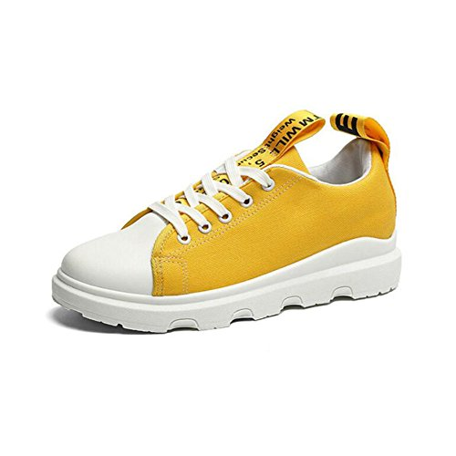 GAOLIXIA Femmes Chaussures Printemps Automne Confort Sneakers Plat Chaussures Bout Rond Casual Outdoor Chaussures Blanc Noir Jaune Vert