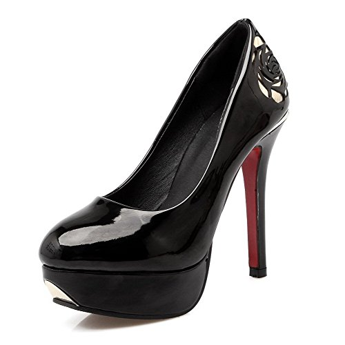 AllhqFashion Femme Pu Cuir Tire Rond Stylet Couleur Unie Chaussures Légeres Noir