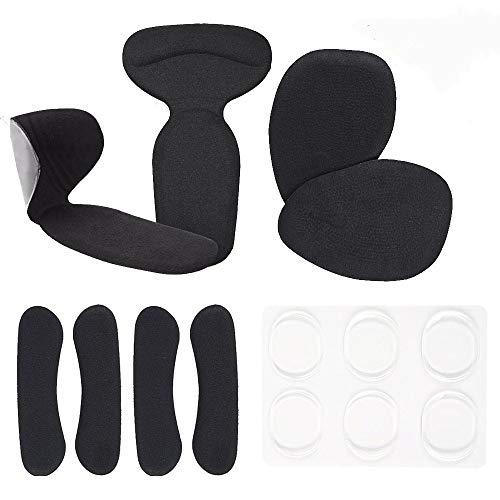 Biwat Plantillas de Zapatos con Tacón Alto, T-forma Plantillas Silicona /Gel Almohadillas de Talón, almohadillas antideslizantes para zapatos, parte trasera de los cojines de talón (Negro)