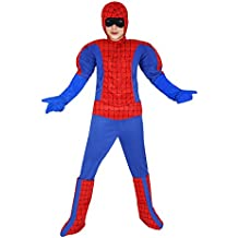 ropa nueva carnaval al bebé del bebé traje de cosplay máscara de Halloween juego de caracteres con los músculos calientes Spiderman vengadores héroe súper héroe tg xl 10 11 años 123 cm de color rojo