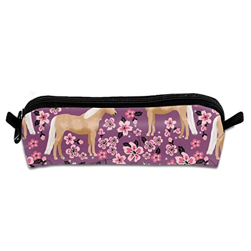 Horse Cherry Blossoms Spring Pink Florals Design Horses Palomino Horse Pencil Pouch Bag Stationery Pen Case Makeup Box with Zipper Closure 21 X 5.5 X 5 cm - Pink Velvet Floral