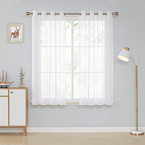 k Voile mit Ösen Vorhang Vorhänge Kinderzimmer Dekosachals Vorhang 160x132 cm Weiß 2er Set ()