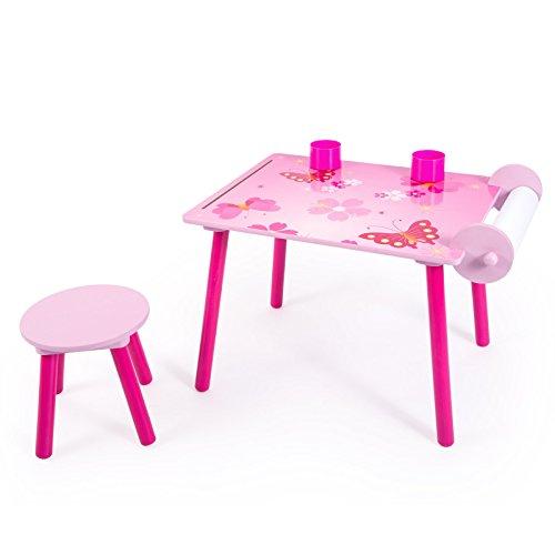 Homestyle4u Kinder Studie Hausaufgaben Schreibtisch mit Schmetterling Motiv, Holz, mehrfarbig, 30x 30x 30cm (Krippe Europäische)