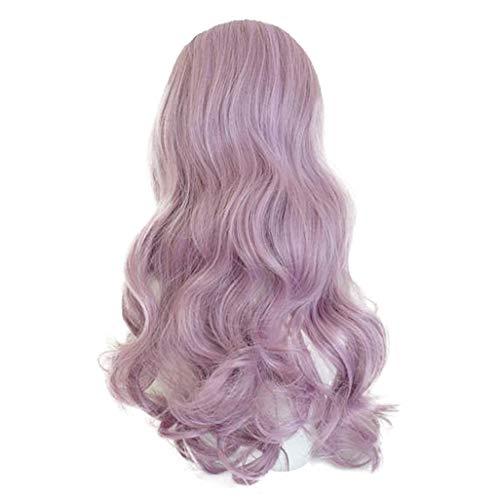 Nourich Fashion Perücke mit Rosennetz, mittellang, gelockt, gewellt, violette Spitze, Synthetik, hitzebeständig, flauschig, ()