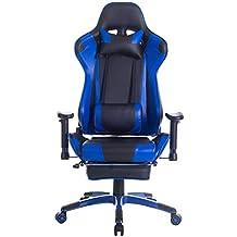 wolmics Racing Estilo Gaming de silla con reposapiés S Sports Altura Respaldo ergonómico Ordenador escritorio piel