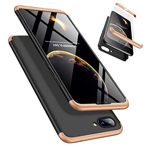 Funda Xiaomi 8 Lite 360°Caja Caso + Vidrio Templado Laixin 3 in 1 Carcasa Todo Incluido Anti-Scratch Protectora de teléfono Case Cover para Xiaomi 8 Lite (Oro Negro)