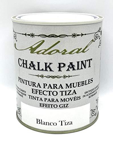 Adoral - Chalk Paint Pintura para muebles Efecto Tiza 750 ml (Blanco Tiza)