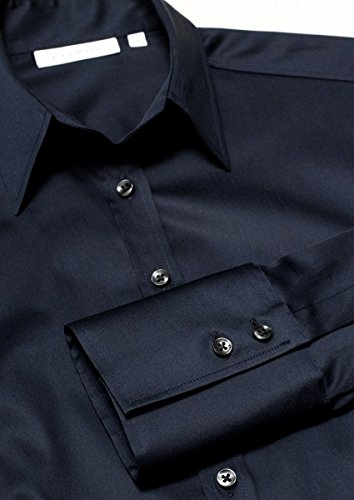 Eterna - Comfort-Fit - Bügelfreie Damen Bluse Langarm in Weiß, Blau oder Rosé (5352 D624) Blau (19)