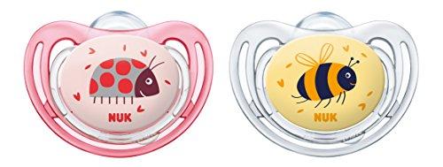 NUK 10175200 Freestyle Silikon-Schnuller, kiefergerechte Form, 0-6 Monate, 2 Stück, Girl, rosa