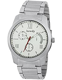 Howdy Analog White Dial Stainless Steel Strap Watch For Men's Ss574