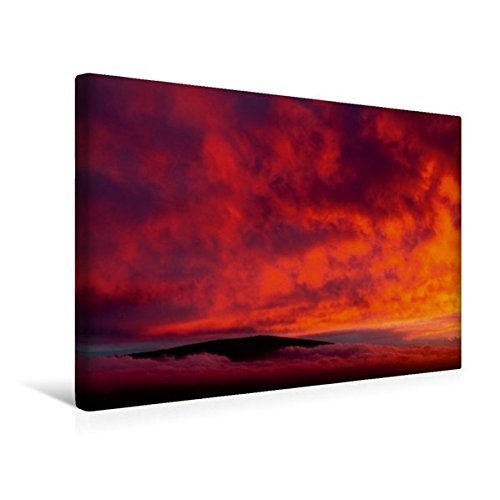 Calvendo Premium Textil-Leinwand 45 cm x 30 cm Quer, Mauna KEA, Sunset Hill, Hawai'i, Sicht auf Mauna Loa | Wandbild, Bild auf Keilrahmen, Fertigbild auf Echter Leinwand, Leinwanddruck Orte Orte