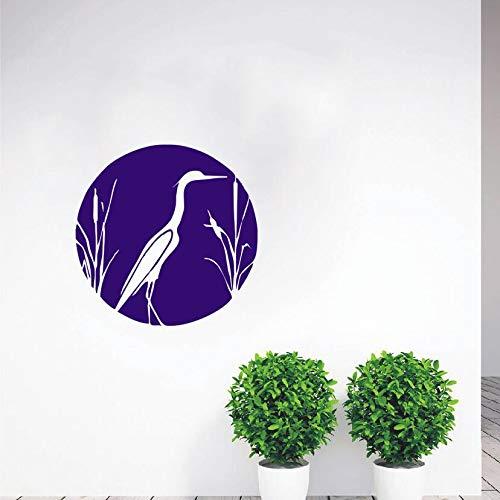 hllhpc Airone e Cattails Adesivo Natura Uccello Cattails Blue Heron Vinile Sticker Art Fai da Te Design Camera da Letto Decorazione della Casa Poster 57 * 57 cm