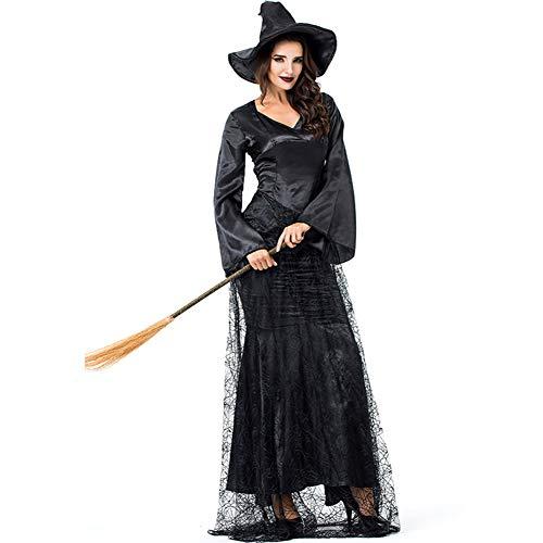 Spider Web Kleid Kostüm - FENGT Halloween Women Es Cosplay Black Spider Web Hexe Cape Outfit Kostüm Kleid,XL