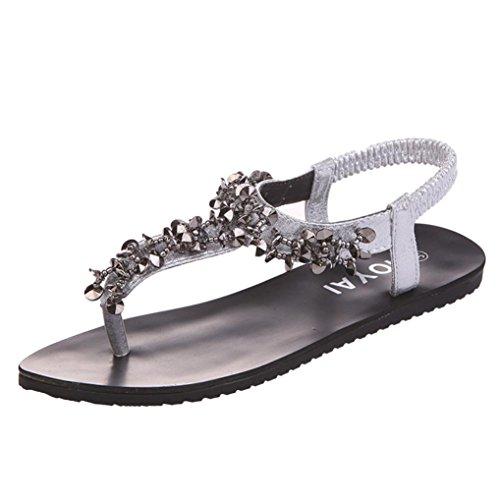 Hunpta Flache Schuhe Bead Böhmen Freizeit Lady Peep-Toe Sandalen Outdoor Damenschuhe Silber