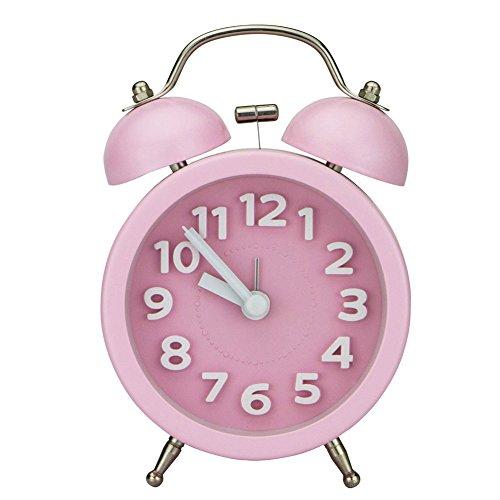 Ho Clock Mini Nicht-Tickende Vintage Klassische Nachttisch Wecker Tisch Mit Hintergrundbeleuchtung Reiseuhren Und Twin Laut Glocke Wecker,Pink
