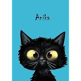 Personalisiertes Notizbuch/Tagebuch - Anika: DIN A5-80 blanko Seiten mit kleiner Katze auf jeder rechten unteren Seite.
