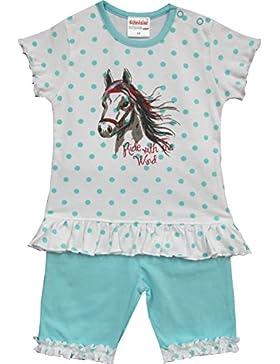 Schnizler Mädchen Bekleidungsset 2 Tlg. Pferd mit T-shirt Tunika und Kurzer Hose mit Rüschchen