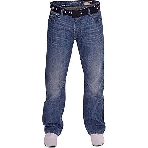 Mens Smith and Jones Bootcut Wide Bottom Hardwearing Fashion Denim