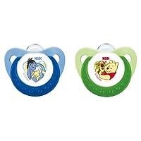 NUK 10175047 Silikon Beruhigungssauger (Schnuller) Disney Winnie Trendline mit Ring, Größe 1 (0-6 Monate), BPA-frei, 2 Stück, grün/blau