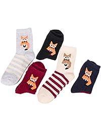 bcfcc29ed8c Chaussettes mi-Tube Femme Coffret Cadeau 5 Paires Ensemble Coton Chaud  Comfortables pour