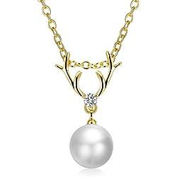 """Adisaer Mujeres Oro Rosa Colgante Collar Ciervo Colgante Blanco Cristal Perla Collar Cadenade Extensión 18"""" +2"""""""