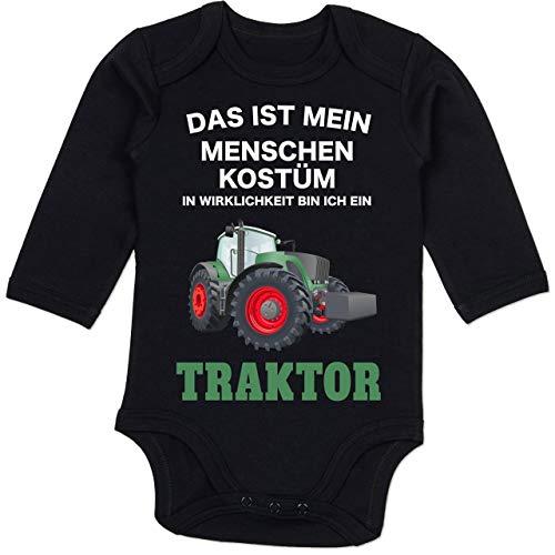 Shirtracer Karneval und Fasching Baby - Das ist Mein Menschen Kostüm in echt Bin ich EIN Traktor - 12-18 Monate - Schwarz - BZ30 - Baby Body Langarm (Gute Schwarze Menschen Kostüm)