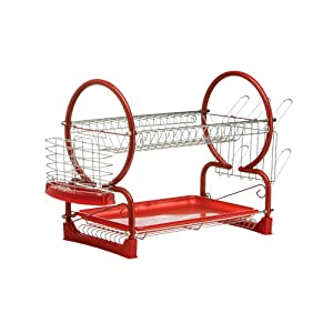 Premier Housewares 2-Tier Dish Drainer - 56 cm, Red