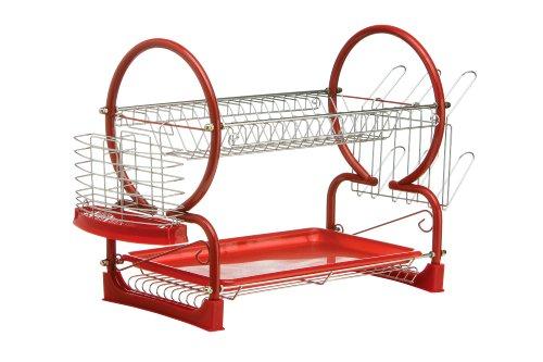 Premier Housewares 2 Tier Dish Drainer, Enamel Coated Frame, Glass and Utensil Holder/Removable Red Plastic Drip Tray Abtropfgestell, 2 Etagen, mit herausnehmbarer Abtropfschale, Chrom/rot, Draht, Kunststoff, 39 x 25 x 56 cm