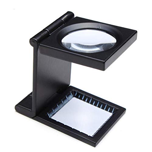 Black Metal, Mini - (Anddod 10X Zinc Alloy Black Metal Folding Mini Magnifier with Scale Pouch)