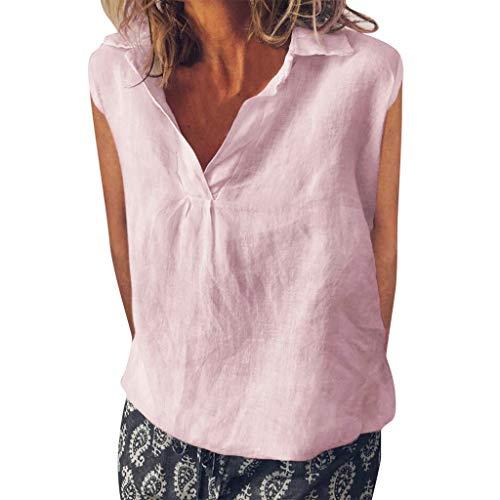Yvelands Damen Mode Weste T-Shirt Lose Ärmellose Leinenweste Täglich Solide Täglich Freizeithemd Bluse ()