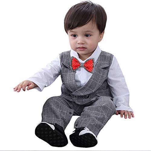 Selou Baby Junge Smoking Neugeborenen Strampler Smoking Kleidung Gentleman Säuglings scherzt Kinder mantel Weste Spielanzug Ausstattungs overall langen Ärmeln Baumwolle Bekleidungsset Kinderanzug