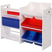 Preisvergleich für SONGMICS 2 Kinderregale in Einem Bücherregal Spielzeugregal weißes Aufbewahrungsregal mit bunten Aufbewahrungsboxen Spielzeug Regal 87 x 60 x 26,5 cm (B x H x T) GKR66WT