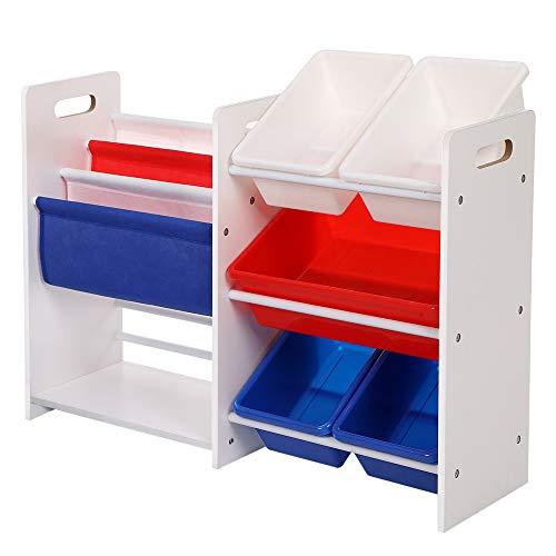 SONGMICS 2 Kinderregale in Einem Bücherregal Spielzeugregal weißes Aufbewahrungsregal mit bunten Aufbewahrungsboxen Spielzeug Regal 87 x 60 x 26,5 cm (B x H x T) GKR66WT (Baby Bücherregal)