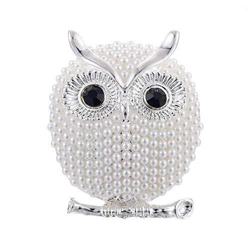 Nosterappou Brosche Eule Boutonniere Perle Diamant Brosche vielseitige Kleidung weibliche Kragen Nadel Temperament einfachen Zylinder Kleidung ausgezeichnete Accessoires (Farbe : Weiß)