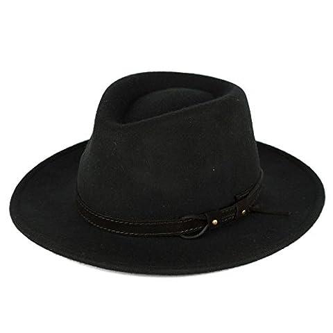 Men's Ladies Fedora Hat Plain Waterproof - Crushable - Leather Belt with Lace Band - Black (61/XL)