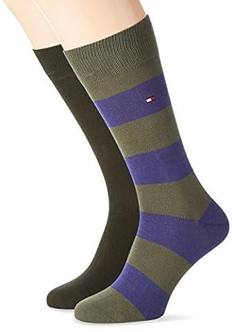 Tommy Hilfiger TH Men Rugby Sock 2P, Chaussettes Homme, Grün (Olive Combo 941), 39 (lot de 2)